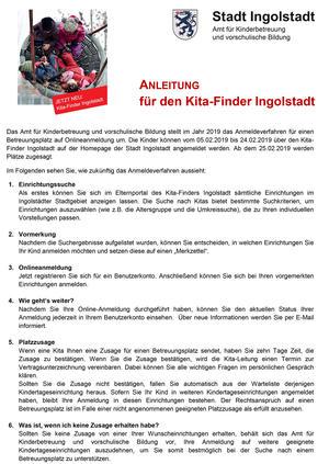 Anleitung für den Kita-Finder Ingolstadt