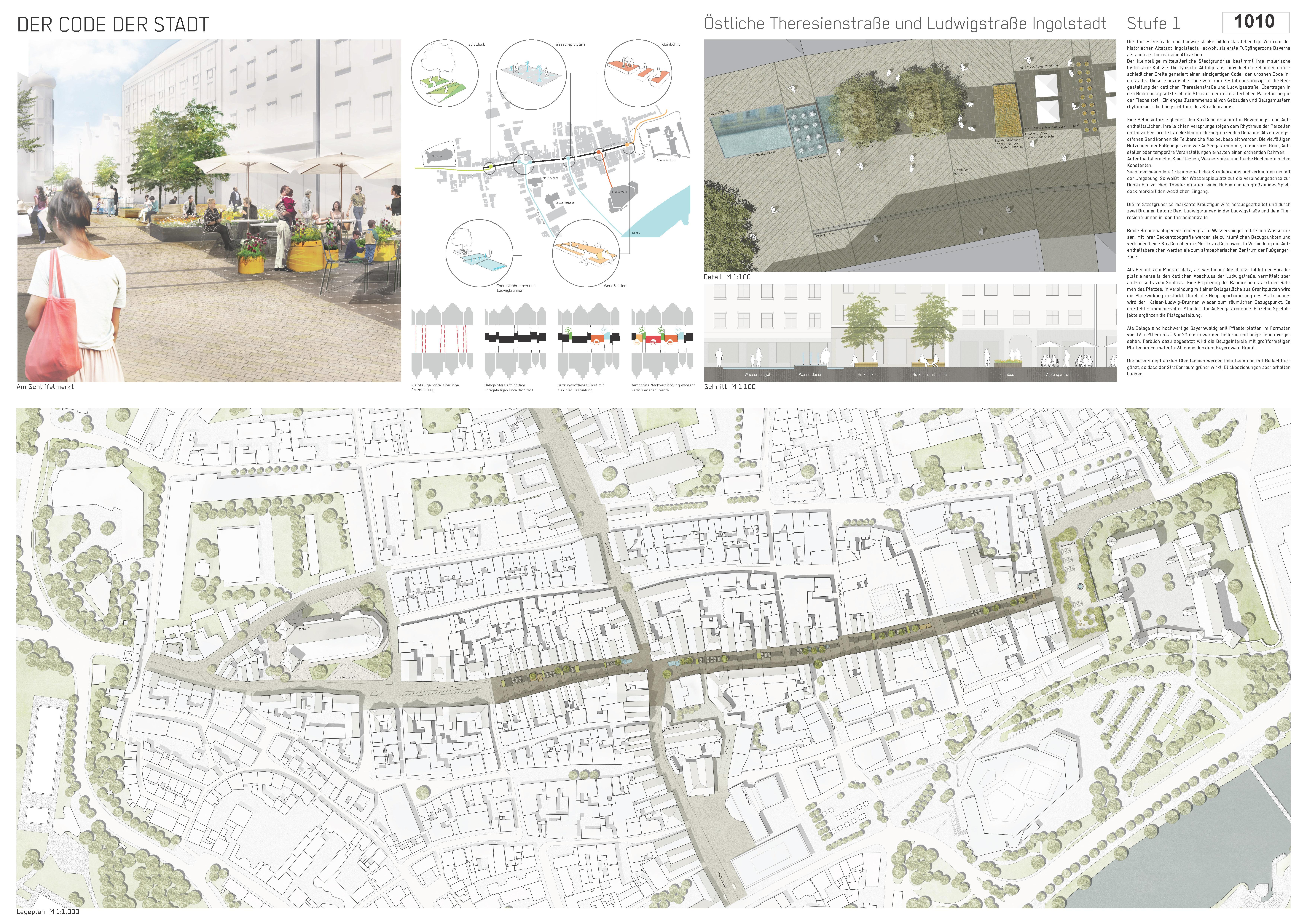 Preisgruppe 1. Stufe Planungswettbewerb Neugestaltung Fußgängerzone Arbeit 2 (1010)