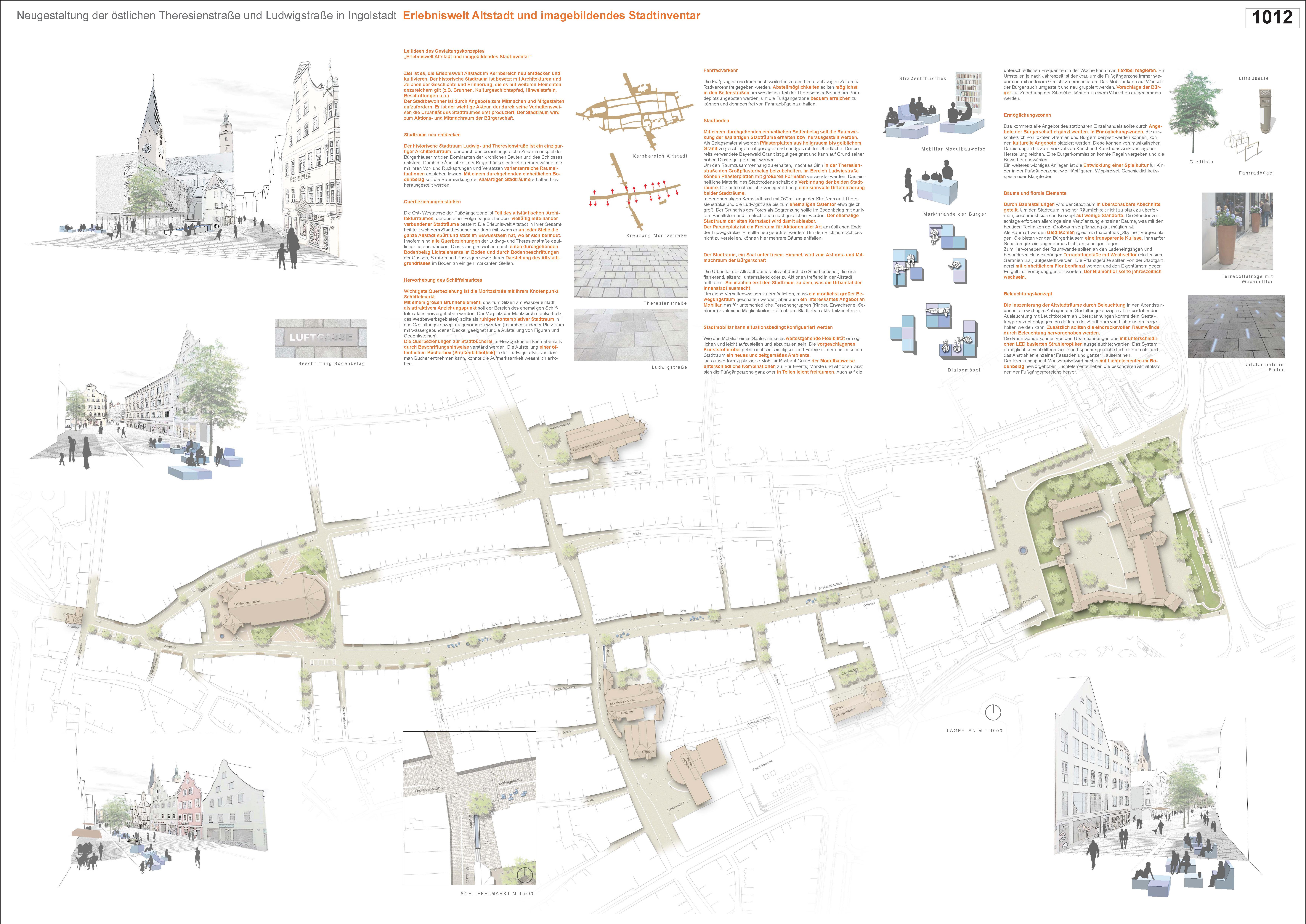 Preisgruppe 1. Stufe Planungswettbewerb Neugestaltung Fußgängerzone Arbeit 3 (1012)