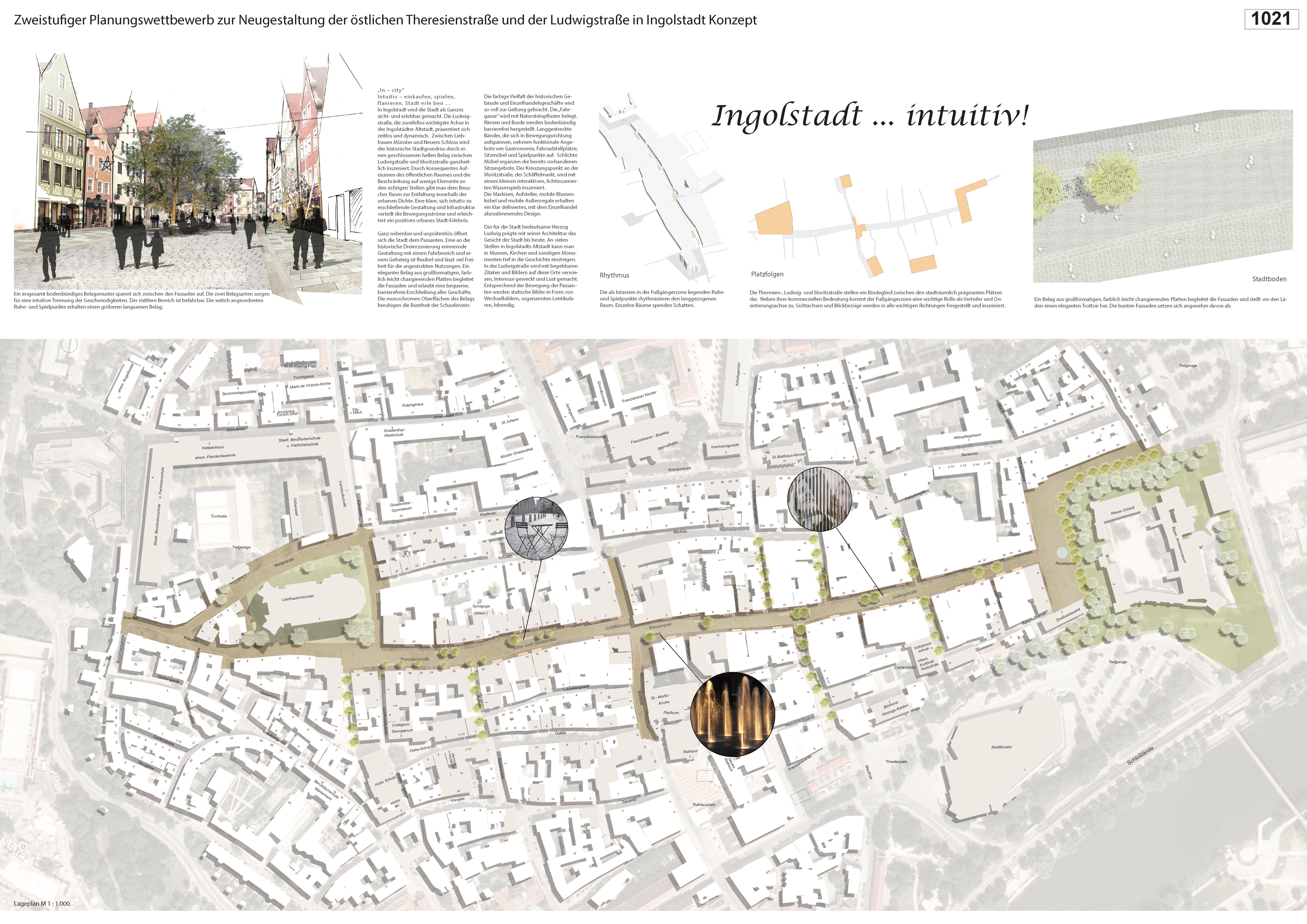 Preisgruppe 1. Stufe Planungswettbewerb Neugestaltung Fußgängerzone Arbeit 7 (1021)