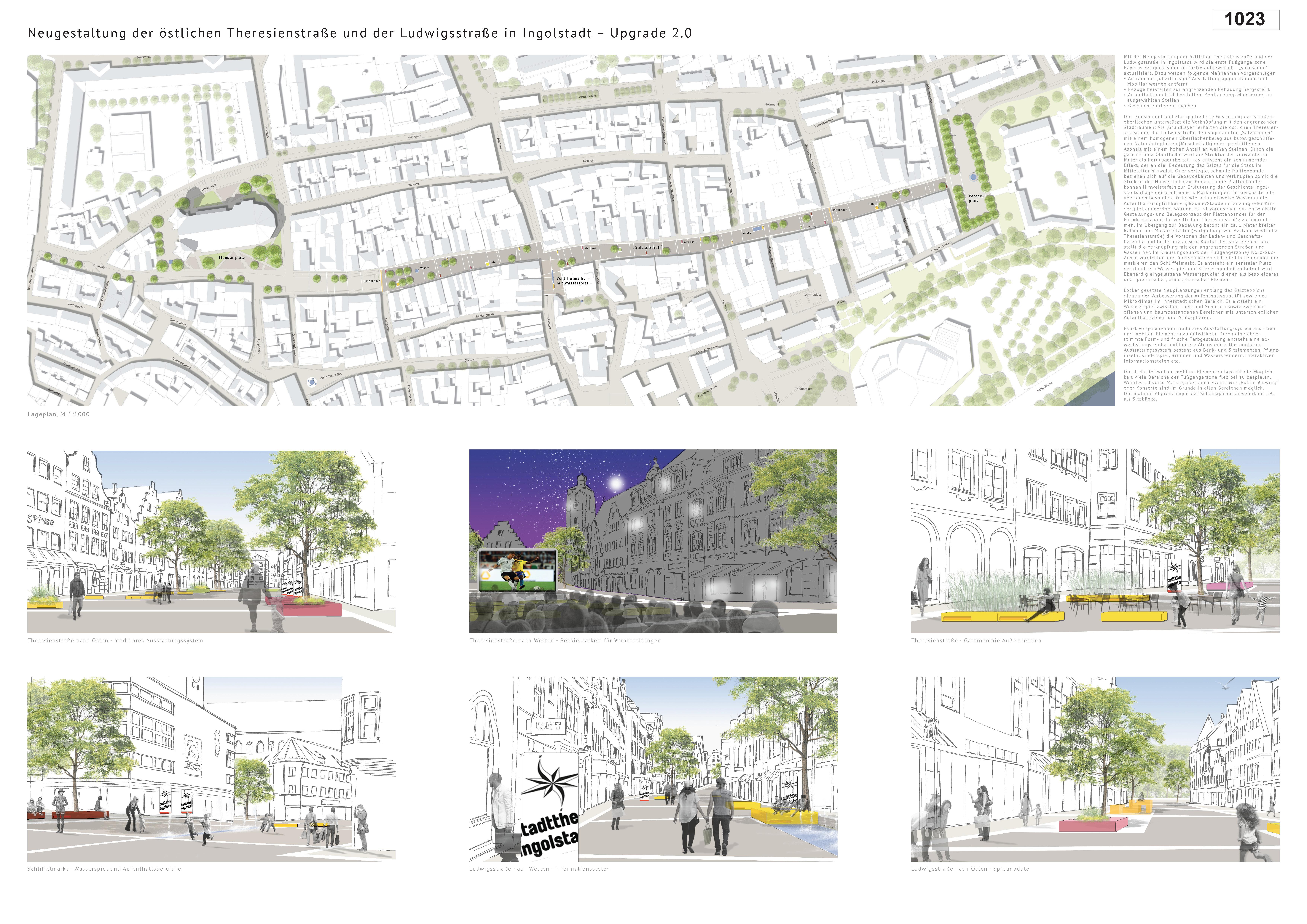 Preisgruppe 1. Stufe Planungswettbewerb Neugestaltung Fußgängerzone Arbeit 8 (1023)