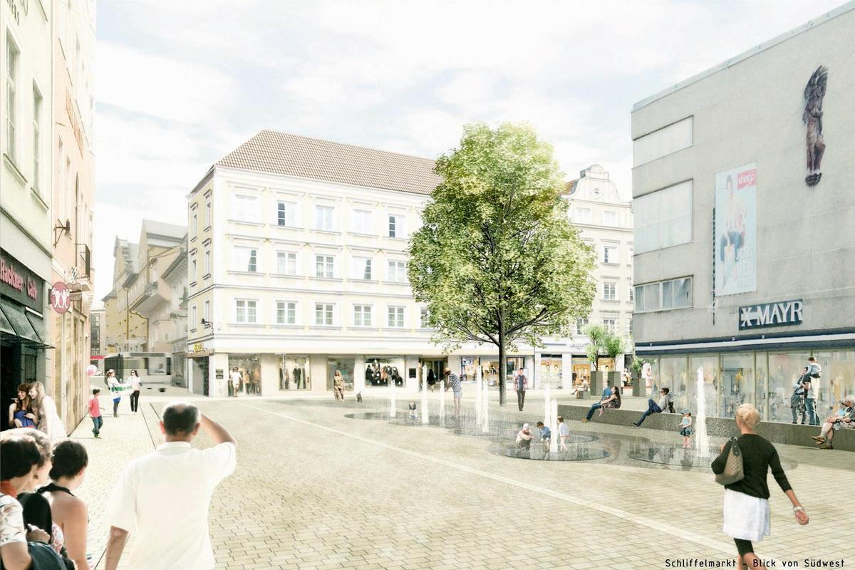 Visualisierung Fußgängerzone Ingolstadt: A24 Landschaftsarchitekur GmbH
