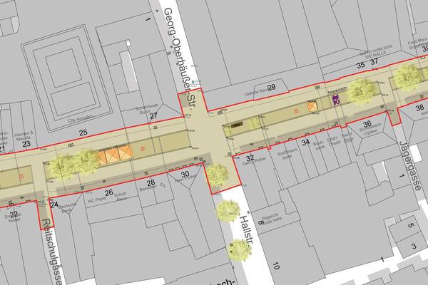 Lageplanausschnitt Fußgängerzone