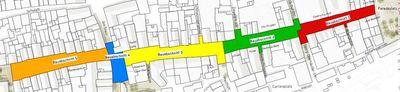 Plan mit den Bauabschnitten der Fußgängerzone